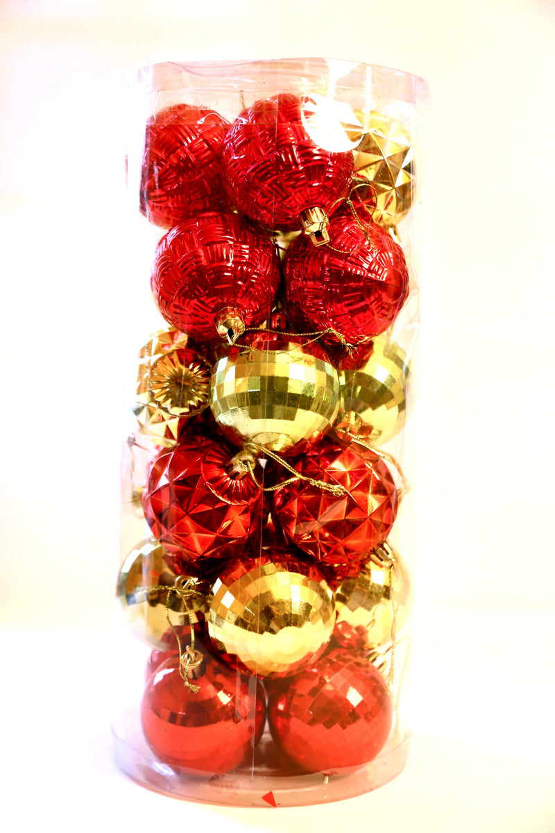 Gold and Red Assorted Christmas Balls Pack of 24