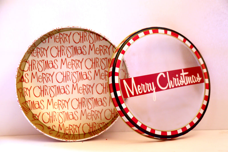 Merry Christmas Round Metal Boxes (3 Sizes Available)