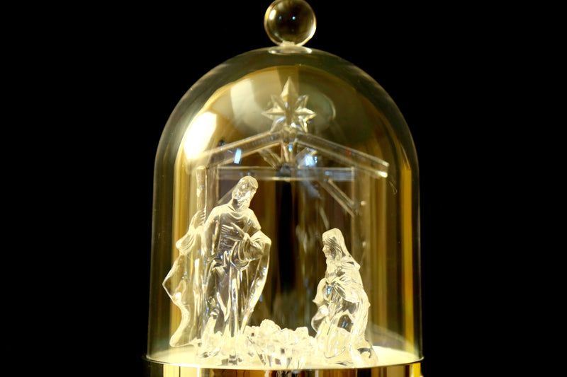 Clear Glass Christmas Nativity/Crib Scene Acrylic Dome