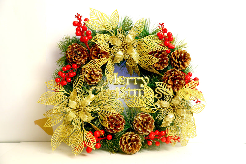 Wreath Decoration with Beautiful Golden Cherries,Pines andDecoration