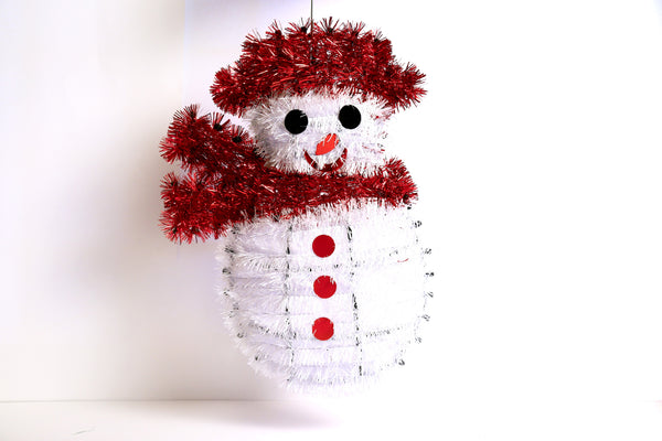 Snowman Mesh Hanging Wall Decoration (Red, Gold)