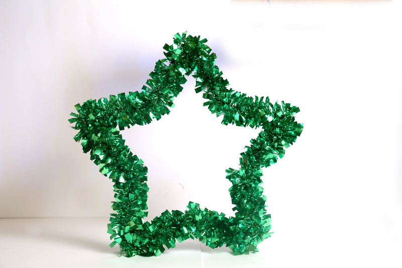 Small Metal Star with Grass decoration (Red, Gold, Green) 35 cm