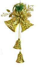 Twin Hanging Bell with Bow Decoration (Red, Gold)