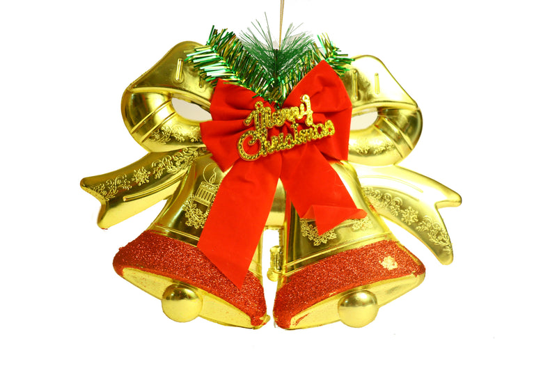 Hanging Bells With Bow Decoration (Gold and Red)