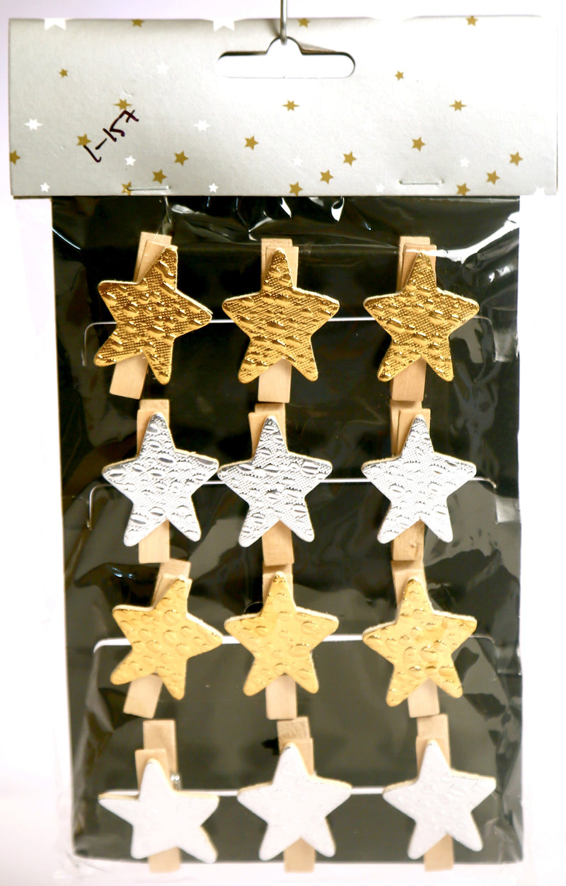 Christmas Theme Star Clips (Pack of 12 Gold and Silver)