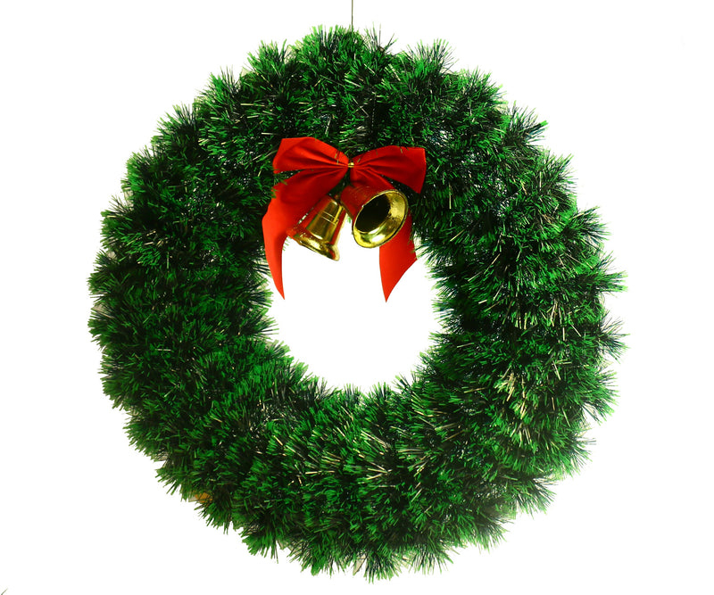 Simple Bushy Christmas Wreath with Red Bow and Bell