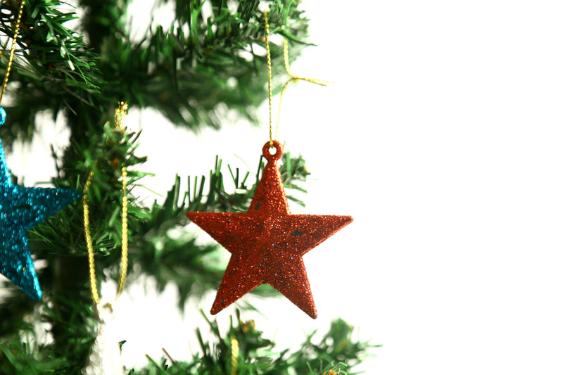 Glittery Christmas Flakes on Star Tree Decoration Ornament Pack of 4 (Colors included: Gold, Red, Silver and Blue)
