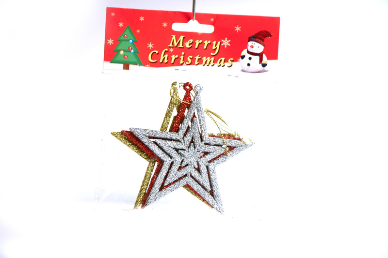 Glittery Christmas Multi Star Tree Decoration Ornament Pack of 4 (Colors included: Gold, Red, Silver and Blue)