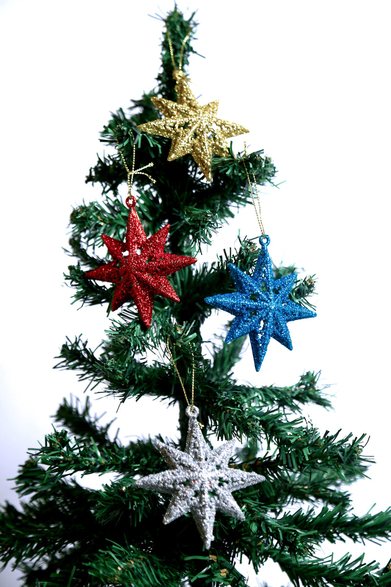 Glittery Christmas Thick Star Tree Decoration Ornament Pack of 4 (Colors included: Gold, Red, Silver and Blue)