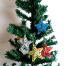 Glittery Stars for Tree Decoration Pack of 4 (Colors included: Red, Gold, Silver and Blue) Two Designs Available