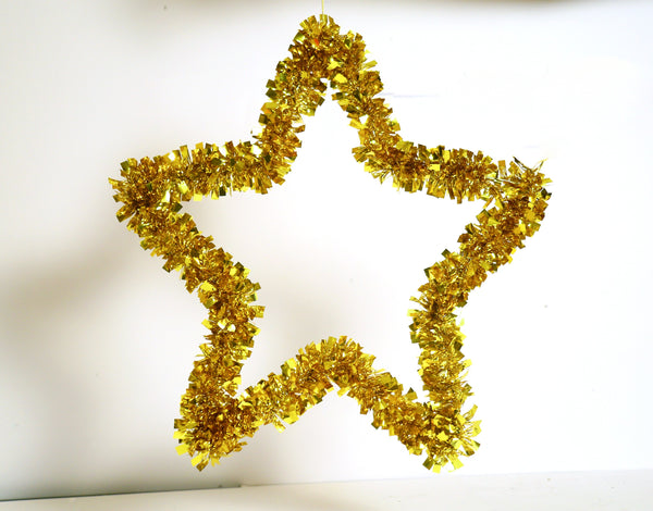 Big Metal Star with Grass decoration (Red, Gold, Green)