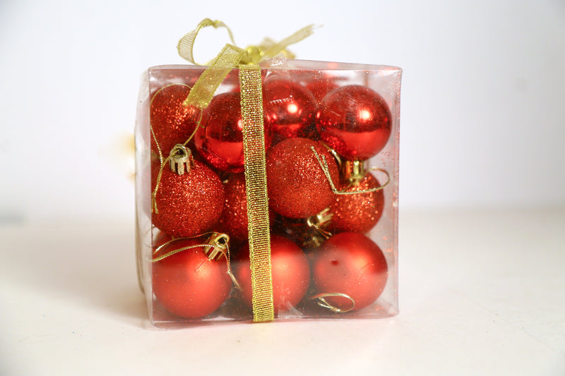 Small Size Assorted Style Pack of 24 Tree Decoration Ball Ornament