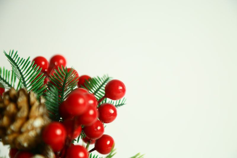 Christmas Flower Pot Decoration with Pine and Cherries