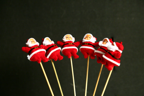Santa Claus on Stick (Pack of 6)