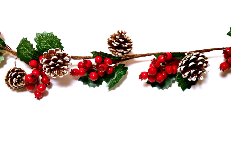 Streamer with Pine, Leaves and Cherries Decoration
