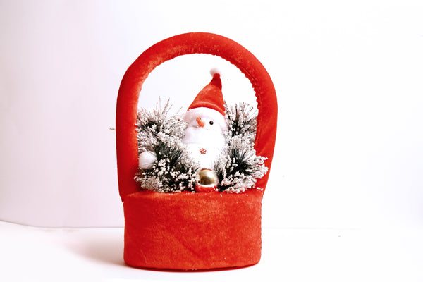 Snowman on Arch Christmas Gift Box with Snow Frosted Ball and Grass Decoration