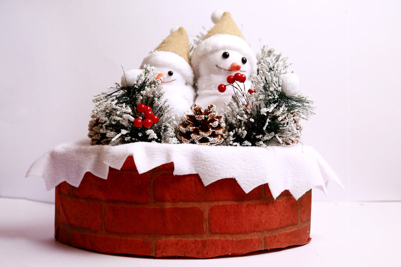 Snowman on Christmas Gift Box with Snow Frosted Pine and Grass Decoration Big Size