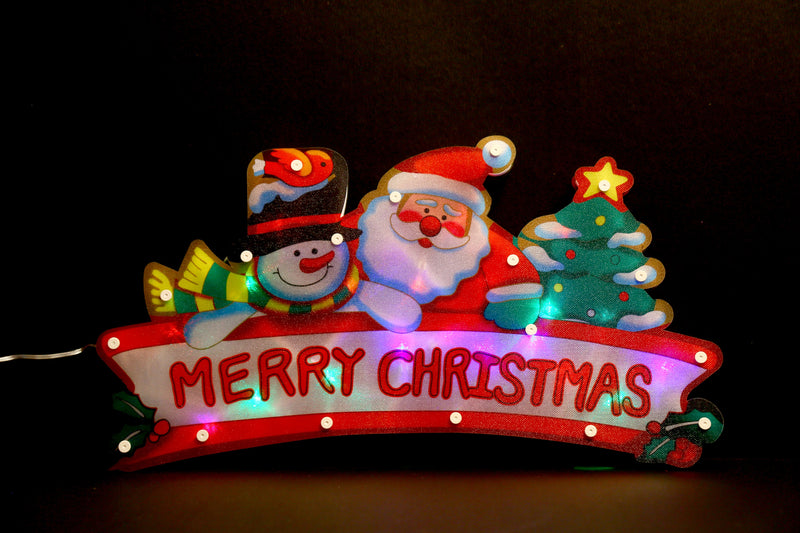Lighting Snowman and Santa Wall Decoration