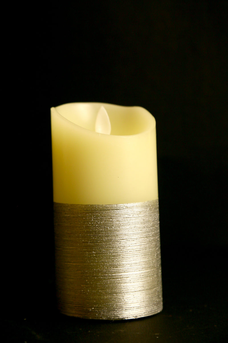 Flickering Candle Light With Metallic Silver Base (Two Sizes)