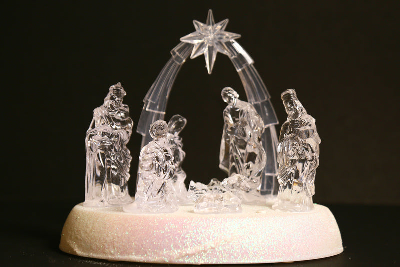 Christmas Nativity/Crib Set LED operated with music and Star arc