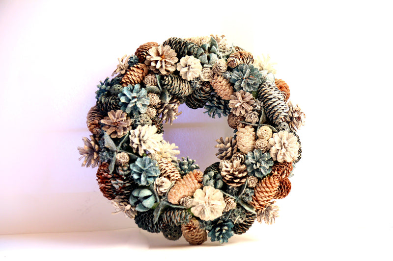 Christmas Wreath with Snow Pines, Cherries, Fruits and Balls Decoration