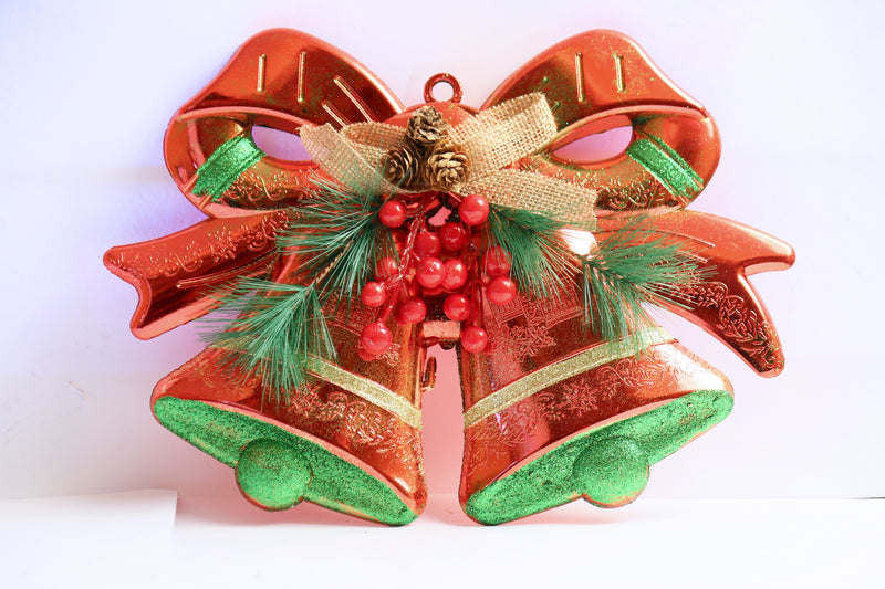 Hanging Twin Bells With Bow and Pine Decoration (Red and Green Color)