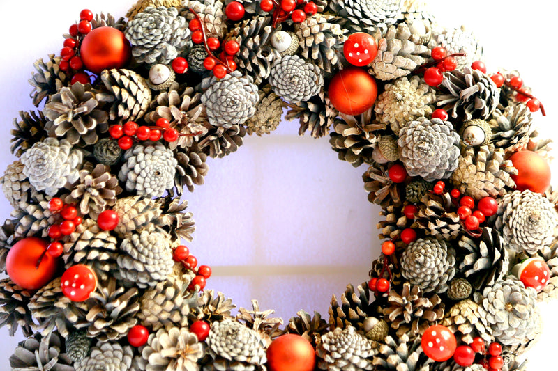 Christmas Wreath with Pines and Flower Decoration