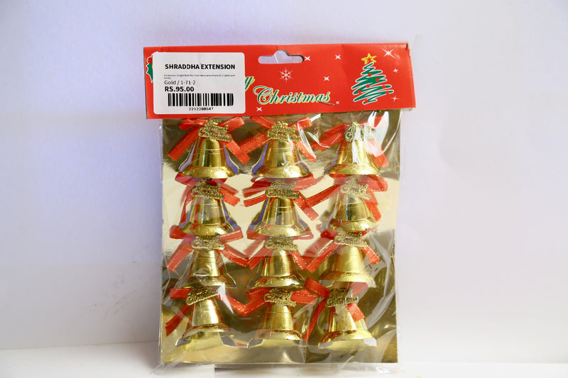 Christmas Single Bells for Tree Decoration Pack of 12 (Red and Gold )