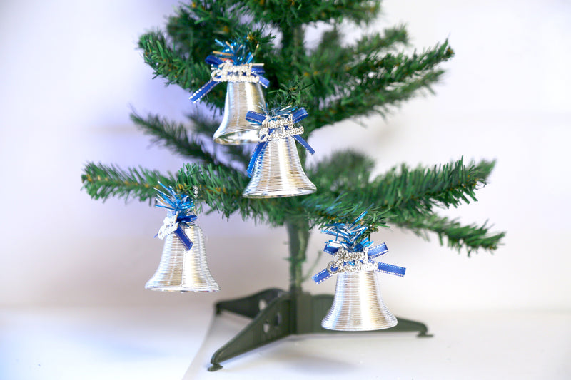 Christmas Single Bells with Merry Christmas for Tree Decoration Pack of 6 (Gold and Silver)