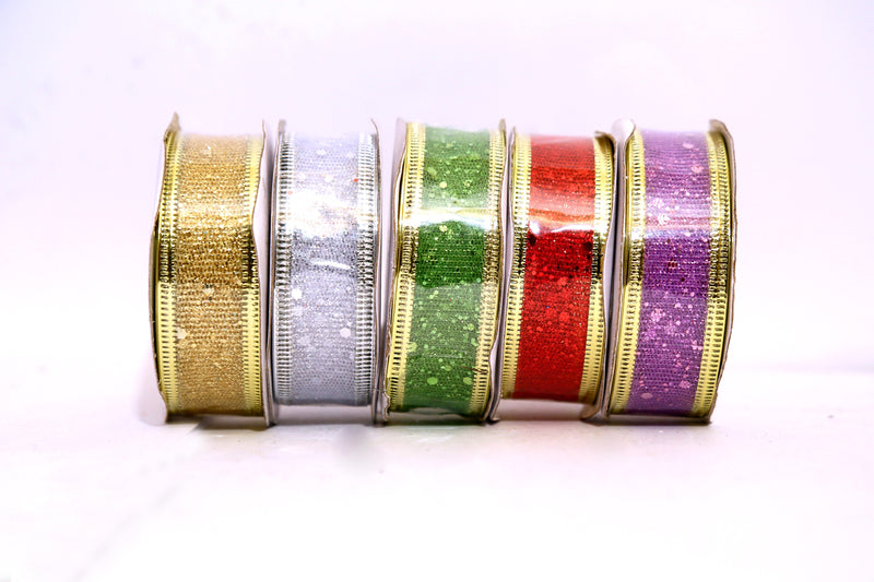 Glitter Ribbon for Decoration (Blue, Red, Gold, Purple, Green and Silver) (Small Size)