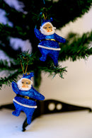Glittery Santa Claus for Tree Decoration Pack of 2 (Gold, Blue, Pink, Silver, Green and Red)