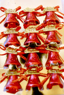 Christmas Single Bells for Tree Decoration Pack of 12 (Red, Gold and Silver)