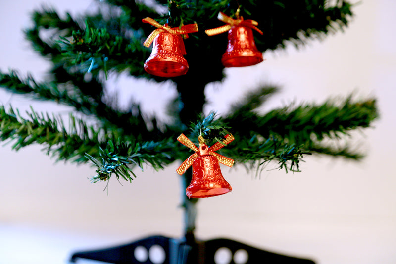 Christmas Single Bells for Tree Decoration Pack of 12 (Silver,Red and Gold )