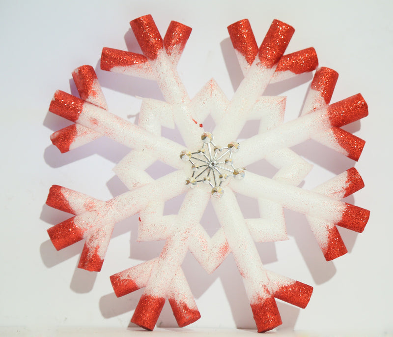 Hanging Snowflake Decoration (Gold and Red)