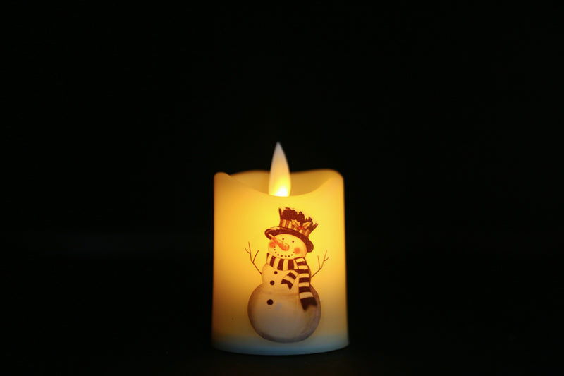 Flickering Candle Light With Santa, Snowman Prints (10 Types Available)