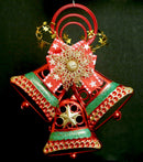 Hanging Twin Christmas Bells (Mix of Red, Gold and Green)