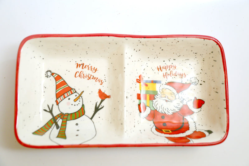 Two Division Ceramic Plate with Santa and Snowman High quality print
