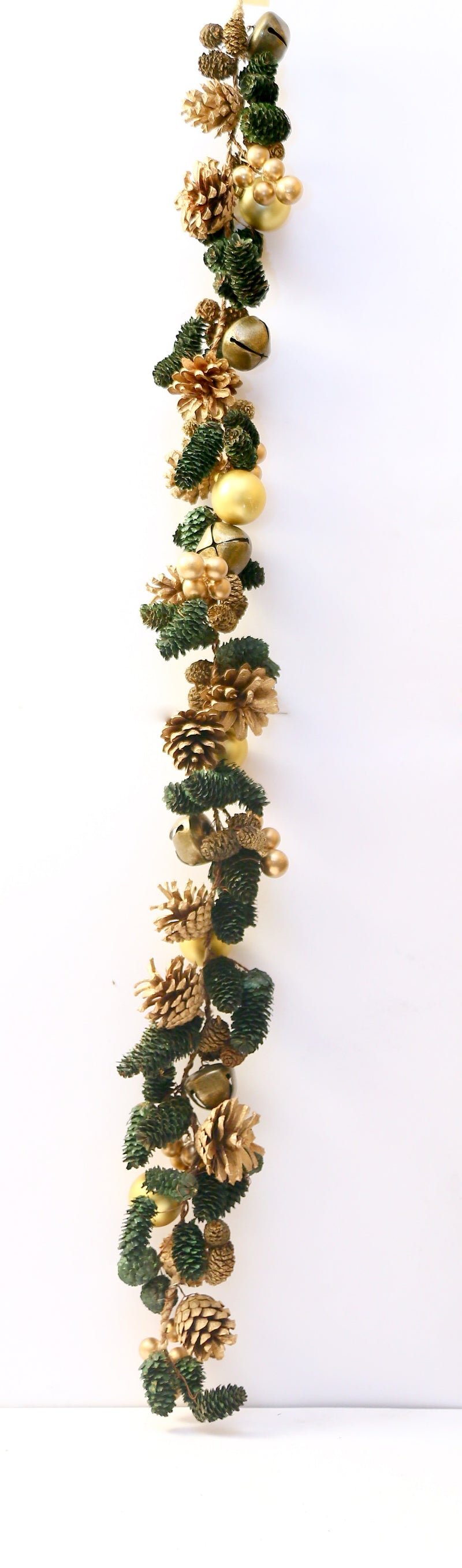 Golden and Green Pine, Balls and Bells Streamer Decoration