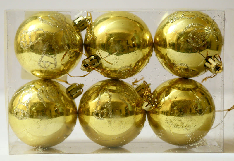 Christmas Balls Ornaments Pack of 6 (Red, Silver and Gold)