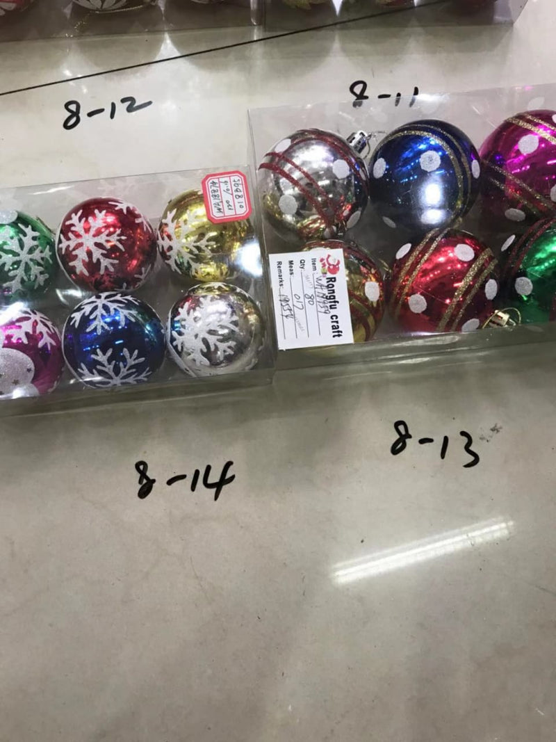 Shiny Christmas Balls Ornaments Snowflake design Multicolor Pack of 6