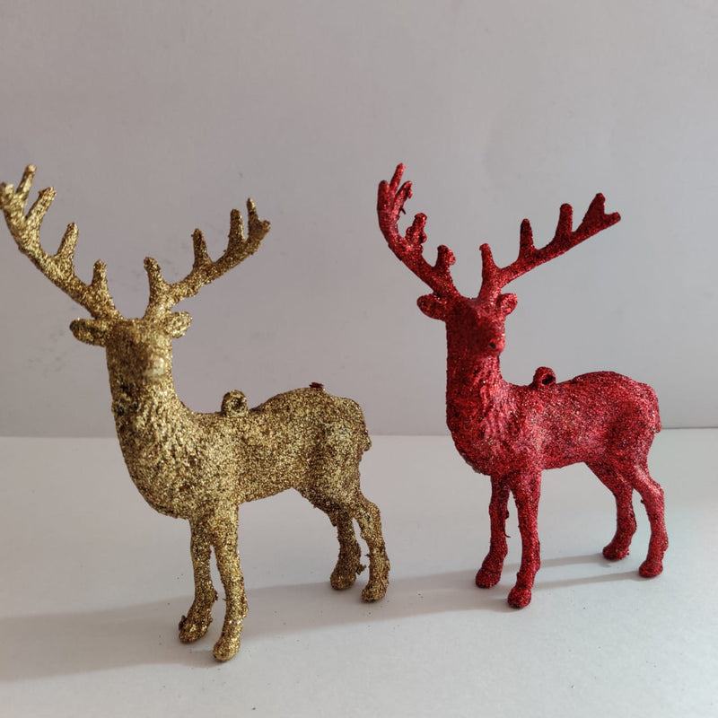 Glittery Reindeer Pack of 2 Tree Decoration