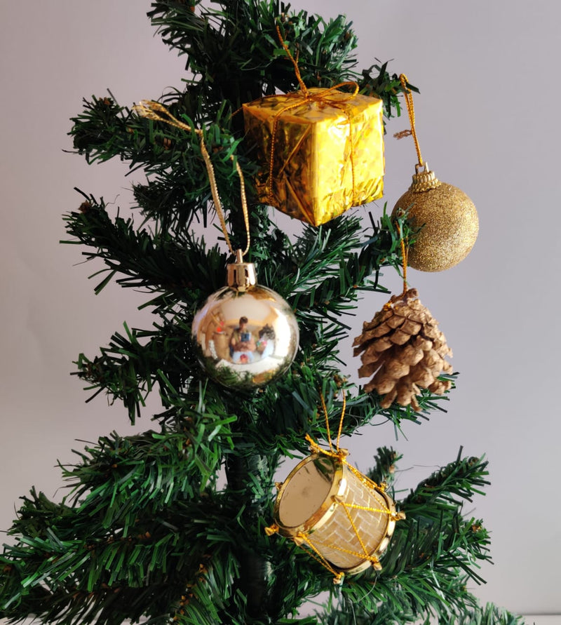 Assorted Tree Decoration Box (Balls, Drums, Gift Boxes and Pines) (Red, Gold and Silver)