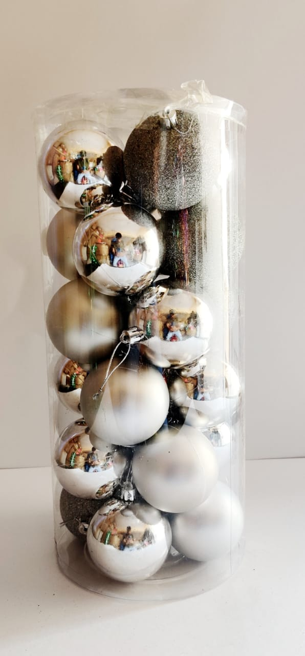 Assorted Ball decoration Tree Ornament Pack of 24  (Green, Silver)
