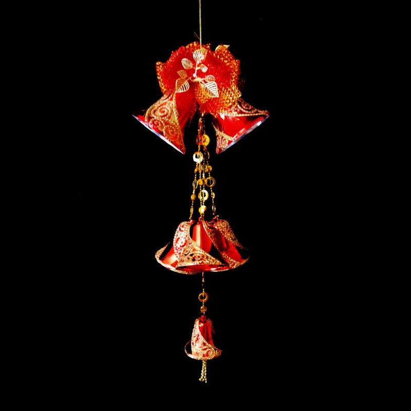 Hanging Twin Christmas Bells with Multiple Small Bells and Bow Decoration (Red)