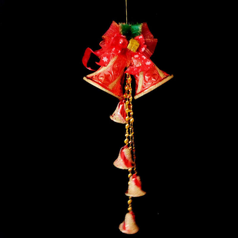Hanging Twin Christmas Bells with Multiple Small Bells, Beads and Bow Decoration