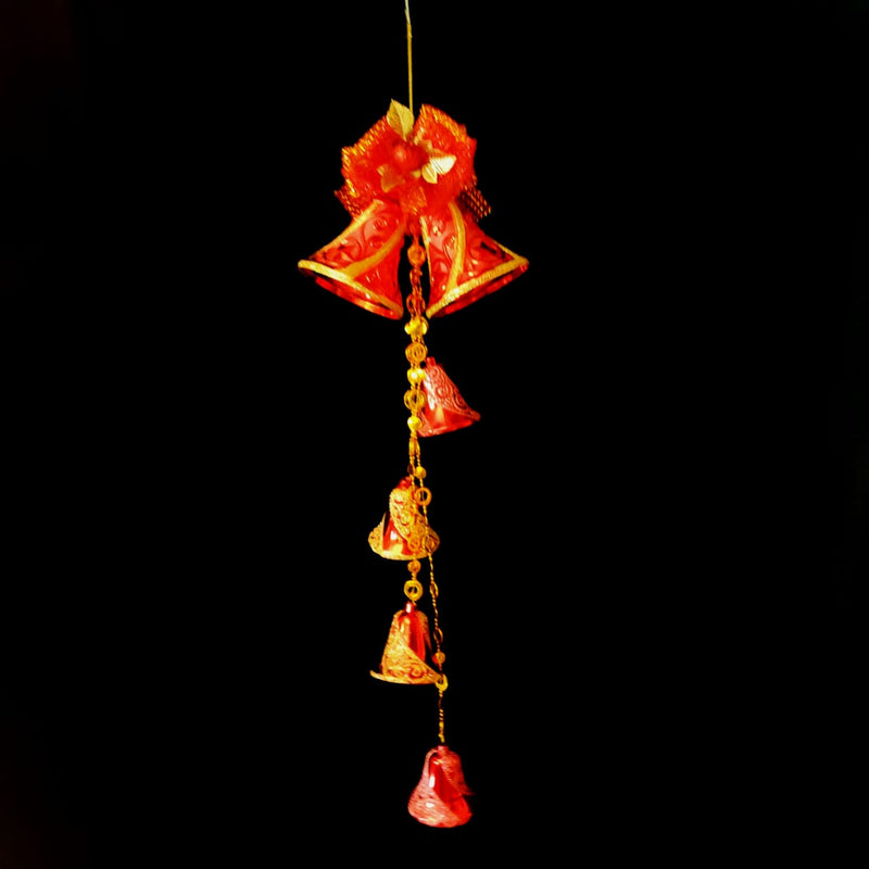 Hanging Single Christmas Bells with Multiple Small Bells, Beads and Bow Decoration