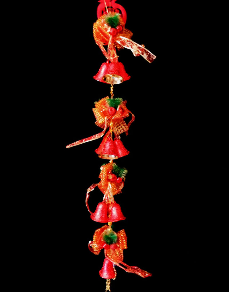Hanging Christmas Bells with Multiple Small Bells, Beads and Bow Decoration (Gold, Red)