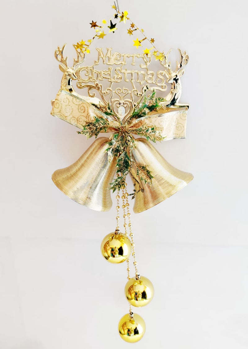 Merry Christmas Hanging Christmas Bells with Bow, Balls and Beads Decoration ( Gold, Silver, Red)