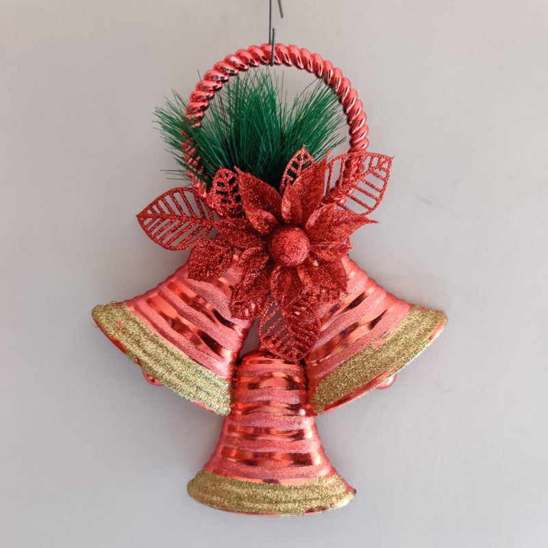 Hanging Half Bells With Bow Decoration (Red , Gold)