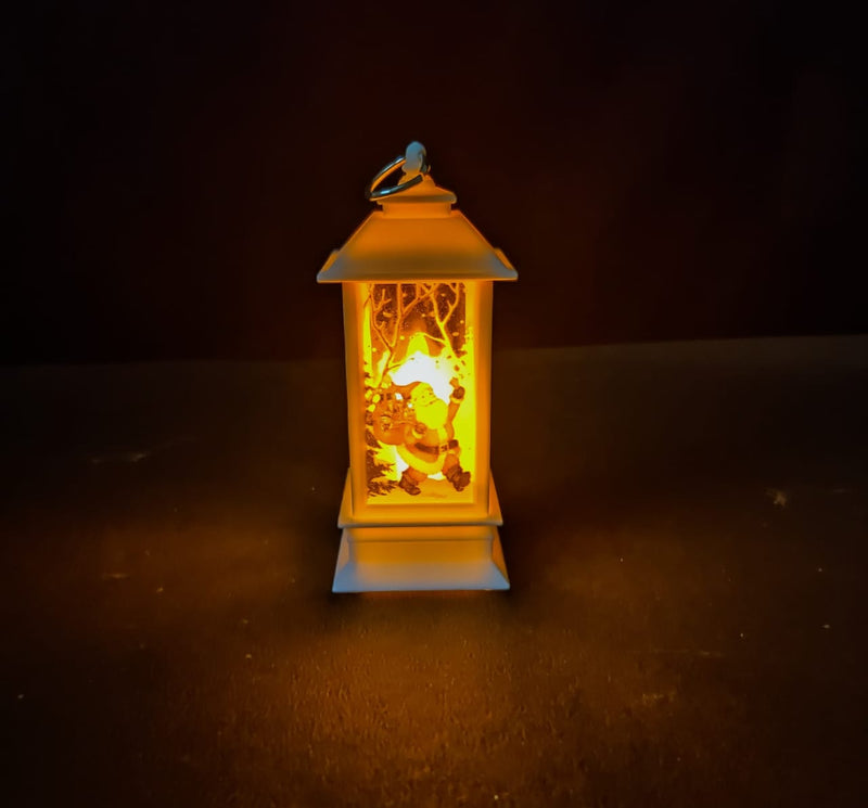 LED Operated Lamp with Candle Inside and Christmas Print